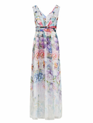 Adrianna Papell Printed Organza Ball Gown