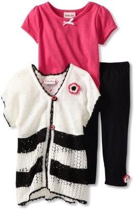Little Lass Girls 2-6X 3 Piece Sweater Set With Capri And Crochet Flower
