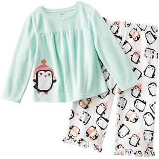 Carter's penguin microfleece pajama set - toddler