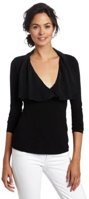 Three Dots Red Women's Wrap Top