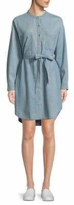 Eileen Fisher Mandarin Collar Denim Dress