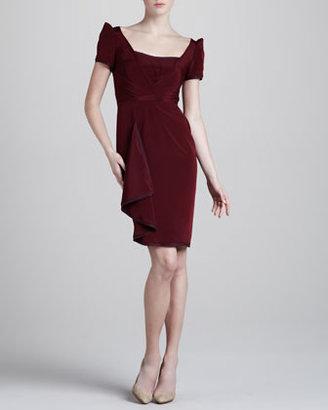 Zac Posen Stretch-Crepe Sleeveless Dress, Burgundy