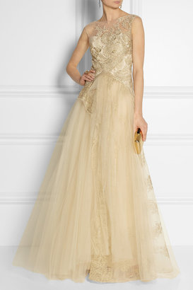 Notte by Marchesa Embellished tulle gown