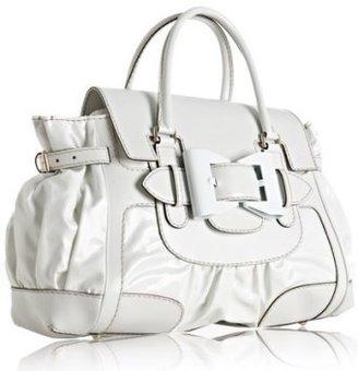 Gucci white coated twill 'Queen' medium satchel