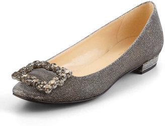 Kate Spade Norella Crystal-Buckle Metallic Flat