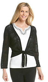 Alfred Dunner Crochet Cardigan Beaded Cami Layered Look Top