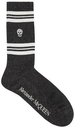 Alexander McQueen Skull-intarsia Metallic Cotton-blend Socks