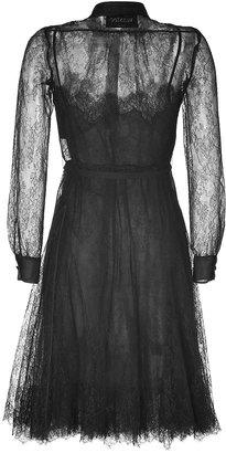 Valentino Black Belted Silk Lace Dress