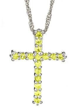 """Sterling 0.60 cttw Sapphire Cross Pendant with18"""" Chain"""