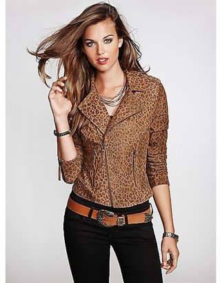 GUESS Long-Sleeve Leopard-Print Leather Jacket