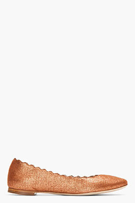 Chloé Copper sparkly suede Scalloped flats