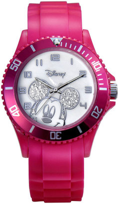 Disney Mickey Mouse Crystal Accent Pink Resin Watch $28 thestylecure.com