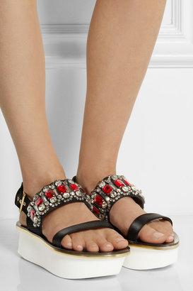 Marni Embellished satin and piqué platform sandals