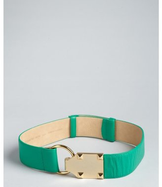 Vince Camuto jade grained leather pyramid studded belt