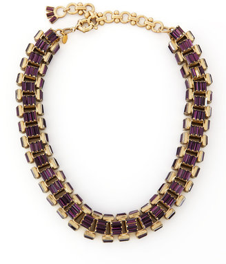 Lee Angel Yellow Gold-Plated Purple Crystal Baguette Necklace