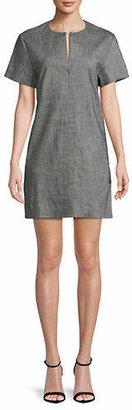 Theory Short-Sleeve Heathered Shift Dress