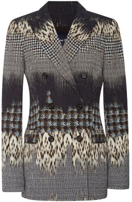 Peter Som Leopard Jacquard Double Breasted Blazer