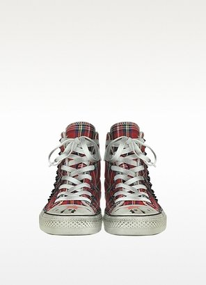 Converse Limited Edition Studded Tartan Canvas and Shearling High Top Sneaker