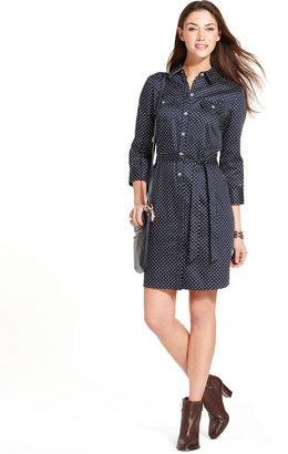 Tommy Hilfiger Three-Quarter-Sleeve Polka-Dot Shirtdress