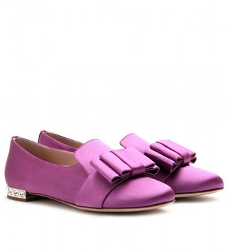 Miu Miu SATIN LOAFERS WITH PLEATED BOW
