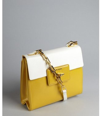 Prada goldenrod and white crosshatched leather chain strap turn lock shoulder bag