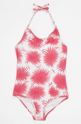 Milly Minis Ruffle Halter Swimsuit (Little Girls) Azalea Pink 4-5