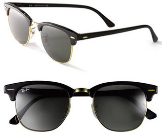 Women's Ray-Ban 'Clubmaster' 49Mm Sunglasses - Black/ Gold $150 thestylecure.com