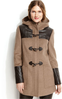 Calvin Klein Hooded Faux-Leather-Trim Duffle Coat
