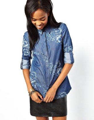 Vero Moda Floral Print Denim Shirt