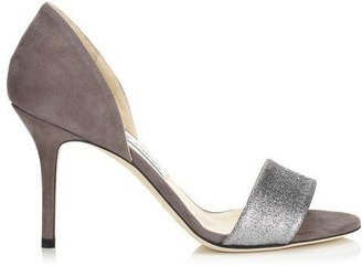 Jimmy Choo Tropez Suede and Fine Glitter Evening Sandals