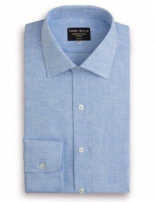 Emma Willis New Sky Linen Slim Fit Single Cuff Shirt