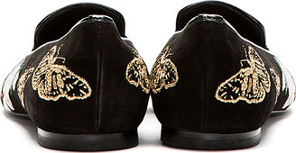 Alexander McQueen Black & Gold Suede Embroidered Loafers