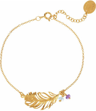 Alex Monroe 22-karat gold-plated multi-stone feather bracelet