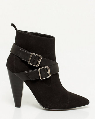 Le Château Faux Suede Pointy Toe Cone Heel Boot