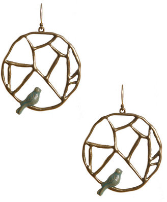 Lucky Brand Earrings, Gold Tone Bird and Branch Earrings
