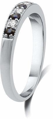 MODERN BRIDE I Said Yes 1/8 CT. T.W. Certified Diamond & Blue Genuine and Lab Created Sapphire Milgrain Band