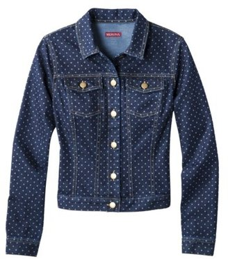 Merona Women's Printed Dot Denim Jacket - Indigo