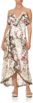 Camilla Long Faux-Wrap Printed Dress w/ Ruffle Trim