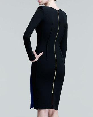 Roland Mouret Dailids Two-Tone Folded-Skirt Dress