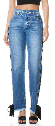 Alice + Olivia Jeans Shayne Lace-Up Ribbon Jeans