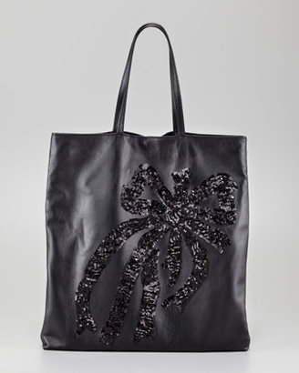 RED Valentino Sequin-Bow Napa Leather Tote, Black