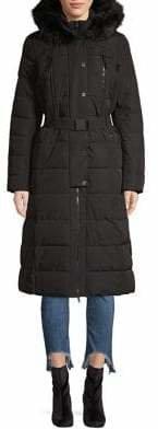 MICHAEL Michael Kors Maxi Hooded Faux Fur Trim Coat