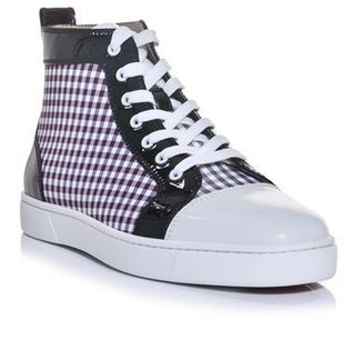 Christian Louboutin Louis patent leather and check high-top trainers