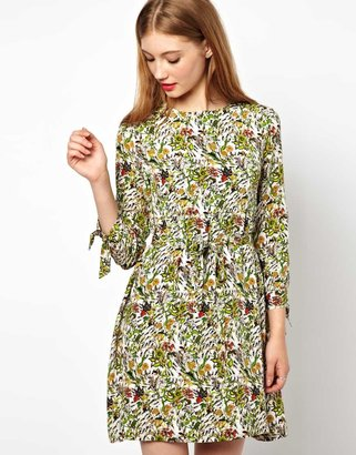 Peter Jensen Tie Cuff Dress In Mini Ant Print