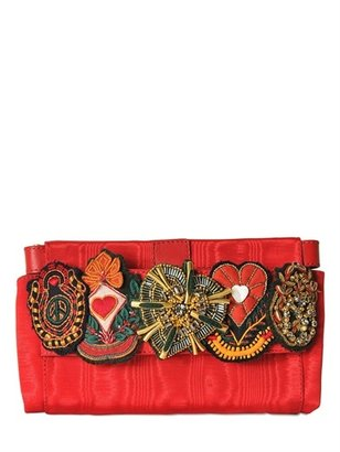 Moschino Lillie Embroidered Satin Clutch