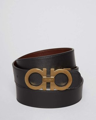 Salvatore Ferragamo Smooth Leather Double Gancini Belt $350 thestylecure.com
