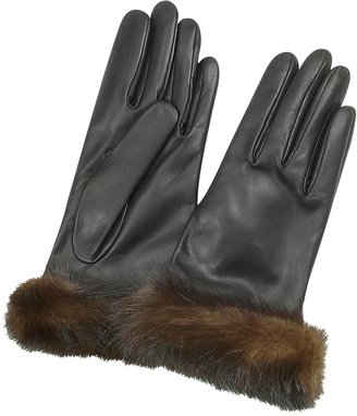 Forzieri Women's Black Italian Nappa Leather & Mink Gloves