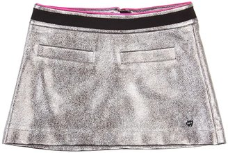 Juicy Couture Metallic Faux Leather Skirt (Toddler/Little Kids/Big Kids) (Silver Foil) - Apparel