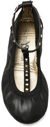 Yosi Samra Gold Studded T Strap Leather Ballet Flat