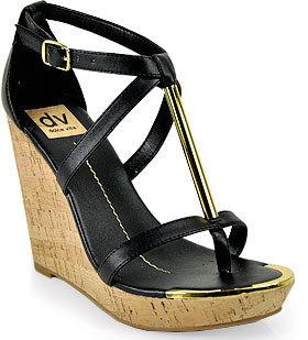 Dolce Vita Tremor - Cork Wedge Sandal in Black Leather
